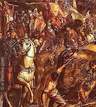 Détail de la Crucifixion du Tintoret à la Scuola Grande San Rocco à Venise