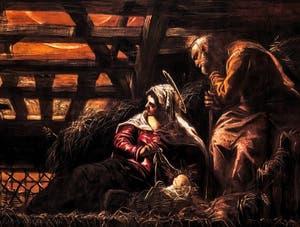 Le Tintoret, L'Adoration des Bergers, détail, à la Scuola Grande San Rocco à Venise