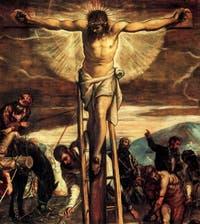 Le Christ dans la Crucifixion de Tintoret à la Scuola Grande Saan Rocco à Venise
