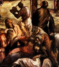 Les saintes femmes dans la Crucifixion de Tintoret à la Scuola Grande Saan Rocco à Venise