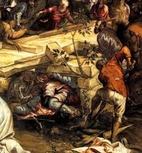 Autoportrait de Tintoret dans la Crucifixion de Tintoret à la Scuola Grande Saan Rocco à Venise