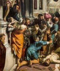 Autoportrait de Tintoret dans le Miracle de Saint Marc délivrant l'Esclave, au musée de l'Accademia à Venise