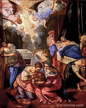 Naissance de Baptiste (1563) par Le Tintoret