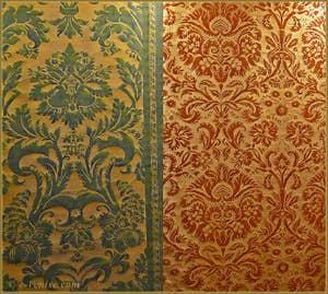 """Tissus Mariano Fortuny, """"Glicine"""" et """"de Medici"""""""