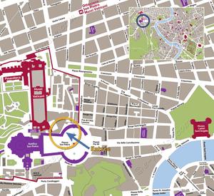 Plan de Situation du Basilique Saint-Pierre du Vatican à Rome Italie
