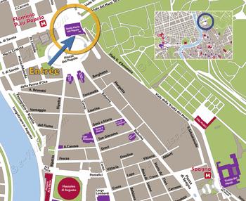 Plan de Situation du Santa Maria del Popolo à Rome Italie