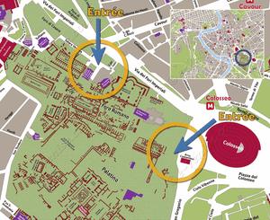 Plan de Situation du Forum Romain à Rome Italie