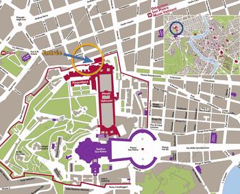 Plan de Situation des Musées du Vatican à Rome Italie