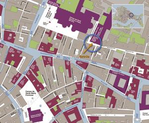 Plan de Situation de la Salle de Musique de l'Ospedaletto à Venise Italie