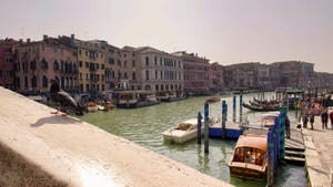 Pigeon chez lui sur la rampe du Pont du Rialto à Venise