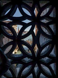 La vue sur San Giorgio Maggiore depuis le pont des Soupirs à Venise