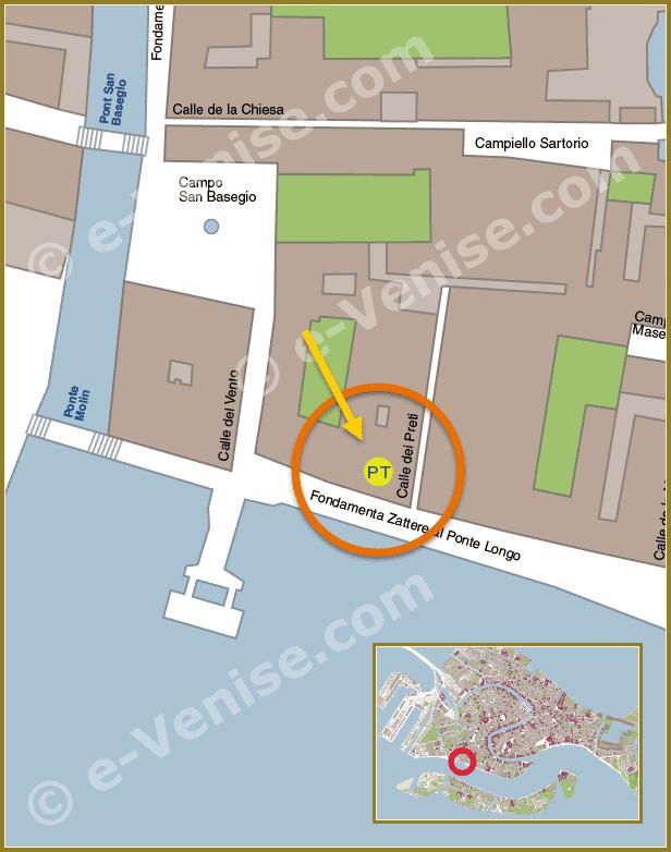 Plan de Situation à Venise du Bureau de Poste Zattere al Ponte Longo Dorsoduro