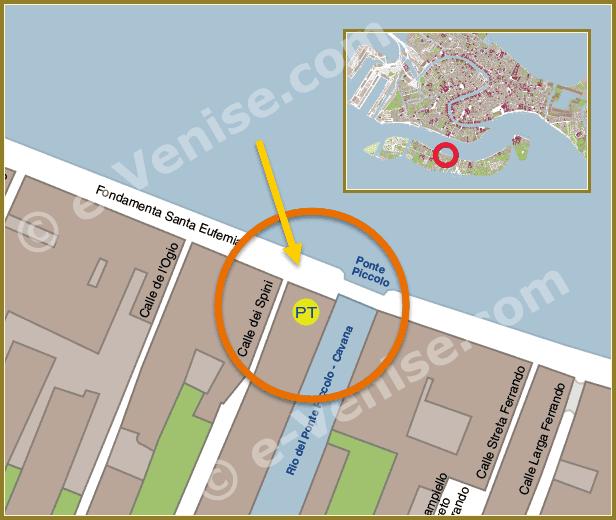 Plan de Situation à Venise du Bureau de Poste Giudecca Sant' Eufemia