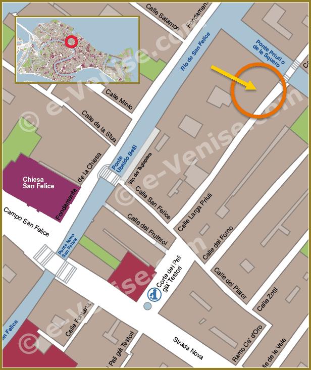 Plan de Situation à Venise du Bureau de Poste Calle Priuli Cannaregio