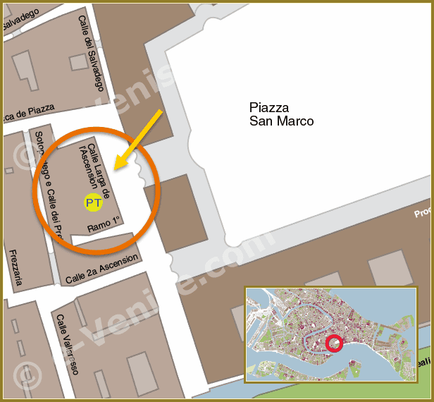 Plan de Situation à Venise du Bureau de Poste Calle Larga de l'Ascension Saint-Marc