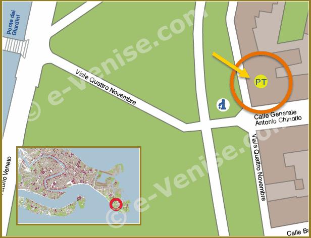 Plan de Situation à Venise du Bureau de Poste Sant Elena Castello