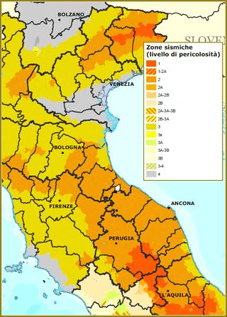 Tremblement de Terre à Venise, la carte des risques sismiques et la classification en risques la plus basse pour Venise
