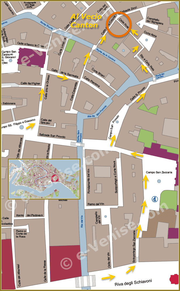 Plan de Situation de la Pizzeria Trattoria Al Vecio Canton à Venise