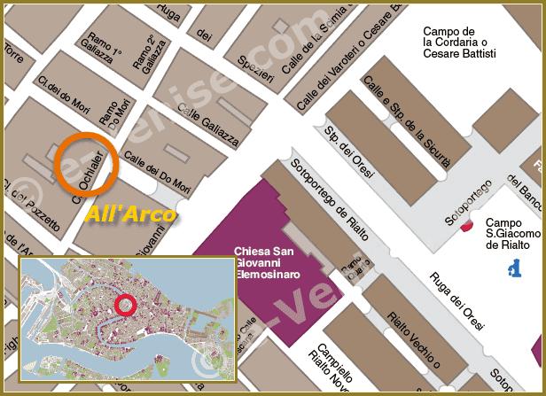 Plan de Situation à Venise de All' Arco