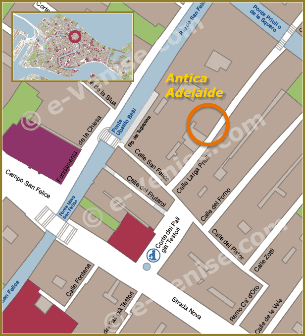 Plan de Situation à Venise de Plan d'accès à l'Osteria Antica Adelaide à Venise