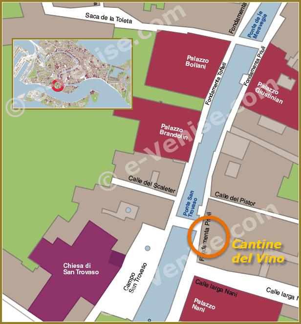 Plan de Situation à Venise de Cantine del Vino già Schiavi