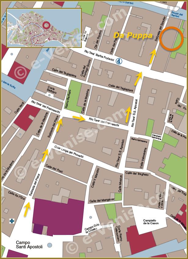 Plan d'accès à la Ciccheteria Pasticceria Bar Puppa à Venise