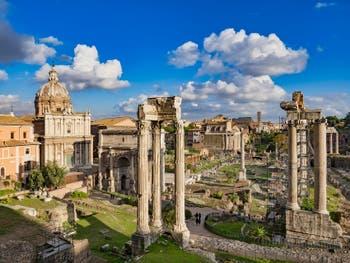Le Forum Romain vu depuis le Tabularium des musées du Capitole Capitolins à Rome en Italie