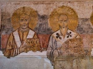Fresque des Pères de l'église provenant de l'église Sant' Adriano, musée Crypta Balbi à Rome en Italie