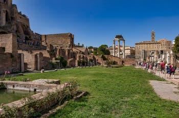 L'Atrium et la maison des Vestales au Forum Romain à Rome en Italie
