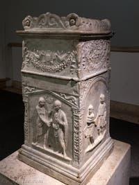 Stèle funéraire de la collection des épigraphes du musée des Thermes de Dioclétien à Rome en Italie