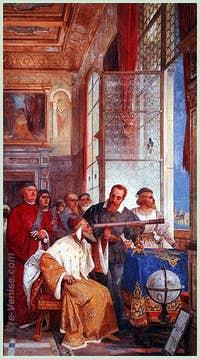 Galilée présente sa Lunette Astronomique au Doge Leonardo Donato le 21 Août 1609. Fresque de 4m91 sur 2m38 datant de 1858 et qui se trouve à la Villa Ponti à Varese en Italie.