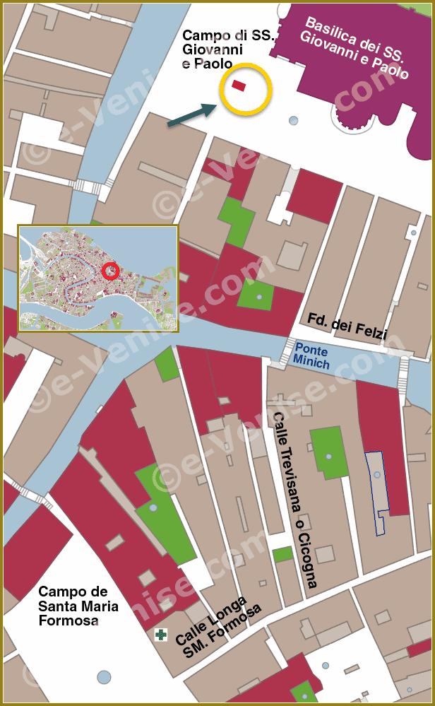 plan de situation de la statue du colleoni à venise carte