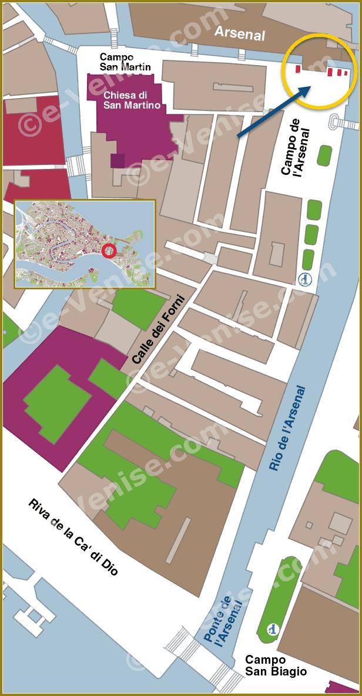 Les Lions de l'Arsenal de Venise - Plan de Situation à Venise