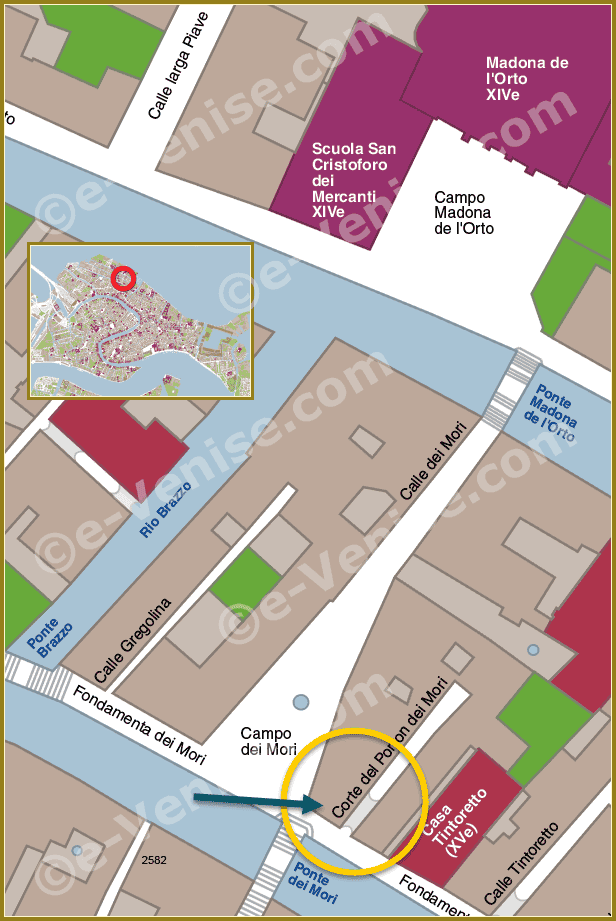 Plan de Situation des Quatre Statues Rioba à Venise