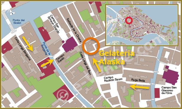 Plan d'accès de la gelateria Alaska dans le sestier de Santa Croce à Venise
