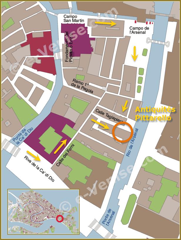 Plan d'accès Venise du magasin d'antiquités Pittarello