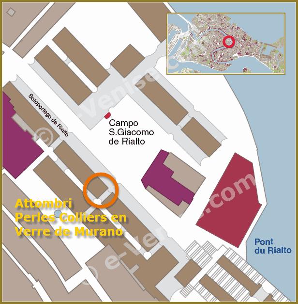 Plan de situation à Venise du magasin atelier Attombri Colliers, pendentifs et bijoux en Verre de Murano