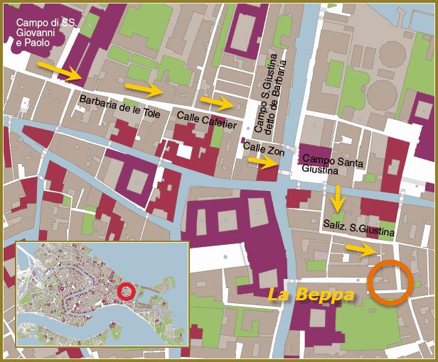 Plan d'accès du magasin La Beppa dans le Castello à Venise