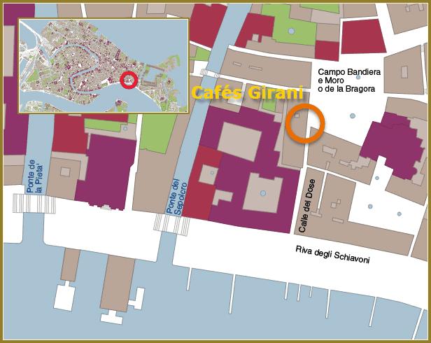 plan de situation des cafés Girani à Venise