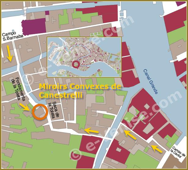 Plan carte de Venise avec la situation des magasins Canestrelli à Venise