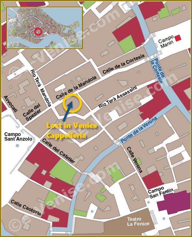 Plan de Situation du Chapelier Lost in Venice à Venise