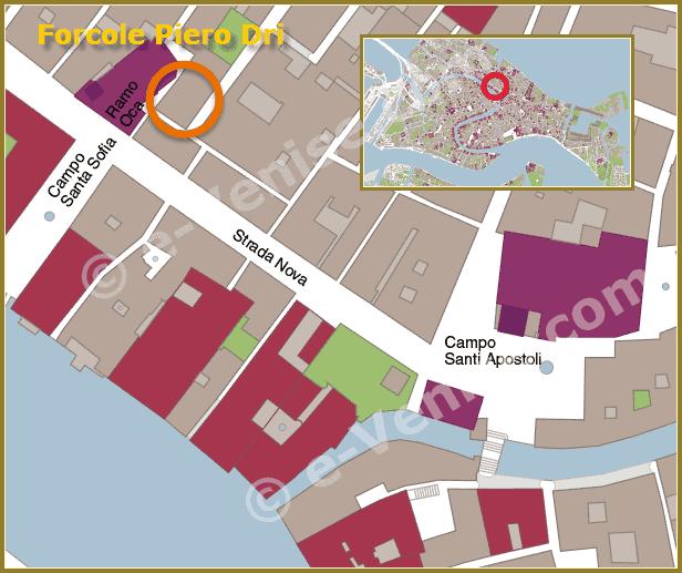 Plan d'accès à l'atelier du Remer sculpteur de Forcole Piero Dri à Venise