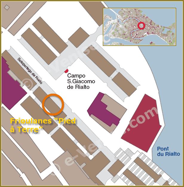Plan de Situation du magasin de Frioulanes Pied a terre à Venise