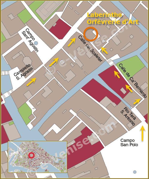 Plan d'accès à Venise du magasin Laberintho