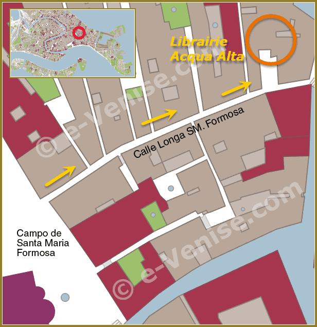 Plan de Situation de la Librairie Acqua Alta à Venise