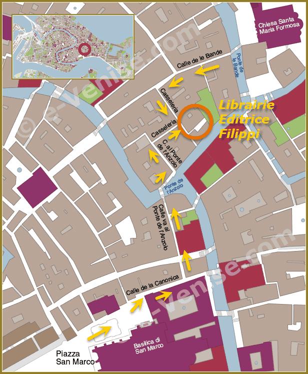 plan de situation de la Librairie des Éditions Filippi à Venise
