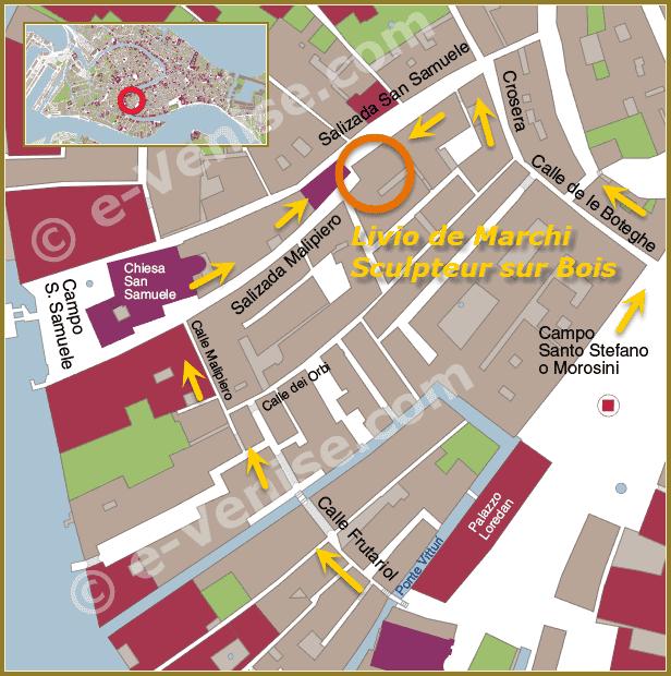 plan de situation galerie Livio de Marchi à Venise