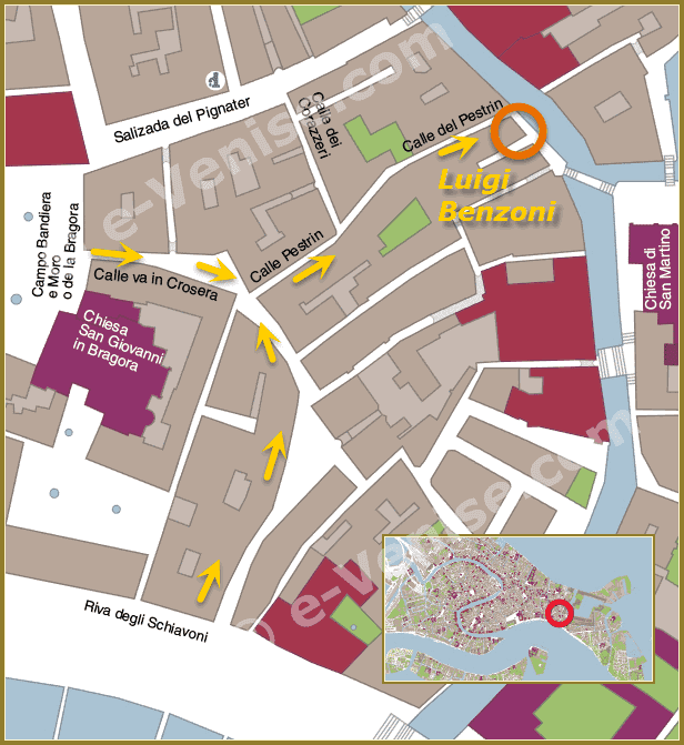 Carte Plan d'accès à la Galerie Atelier Luigi Benzoni à Venise