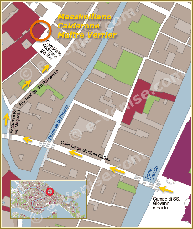 Plan d'accès au magasin-atelier Massimiliano Caldarone à Venise