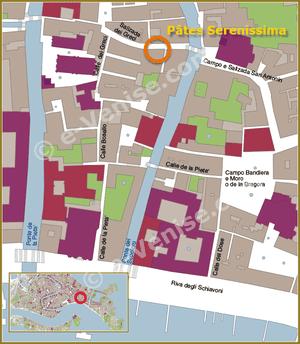 Location Map of Serenissima Pasta in Venice in Italy